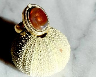 Fire agate - fire knot ring