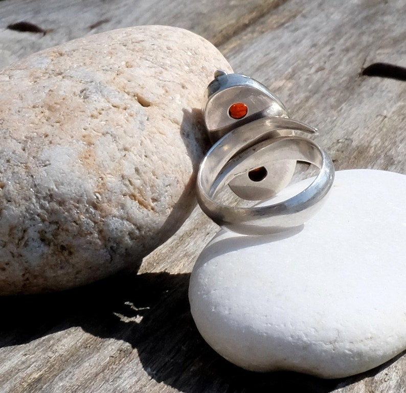 Fine stone ring Ice and Fire Mexican fire and silver opal ring