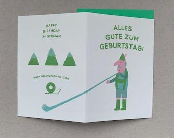 Happy Birthday in German, German Birthday Card, Greeting Card, German