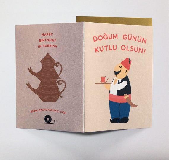 Happy Birthday In Turkish Happy Birthday Birthday Card Etsy