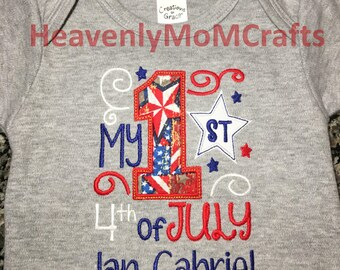 My 1st July 4th, Independence Day, My First July Fourth, America, Red, white, blue, Fourth.(Embroidered )