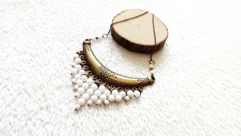 White Jade and Bronze Ethnic necklace gemstones gift for women