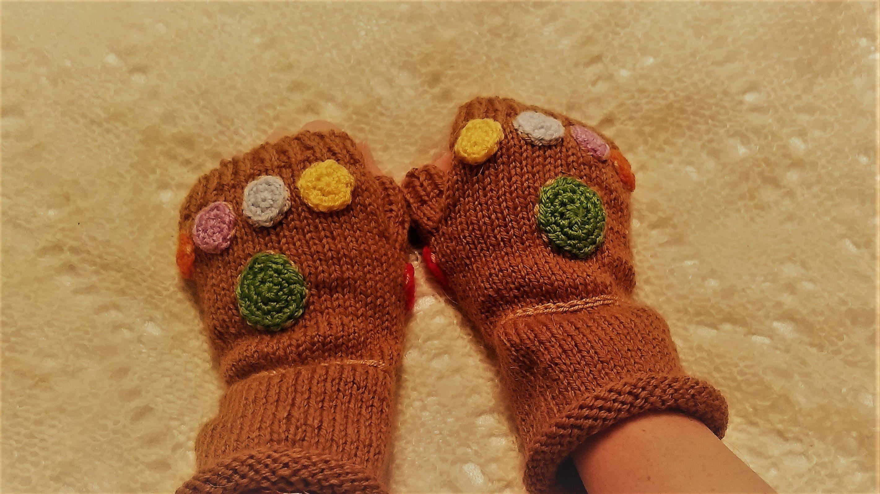 Infinity Gauntlet Gloves crochet gems Marvel costume cosplay Thanos Knitted  fingerless gloves