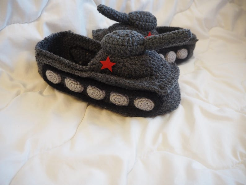 7700debf6c897 Tank Slippers Gift for Men Panzer tank Slipper Crochet tank slipper Hand  Knit Slippers Funny Shoes Gifts for husband