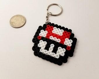 Super Mario Mushroom Perler Bead Keychain