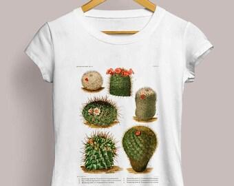Mammillaria Ladies T-Shirt - Botanical Illustration, Cactus Tshirt, Cactus Shirt, Pincushion Cactus, Cacti Art, Botanical Art, S M L XL XL