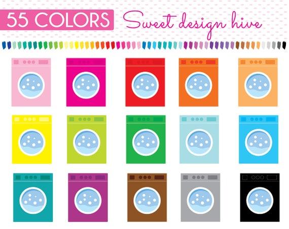 Washing Machine Clipart Washing Machine Stickers Rainbow Etsy