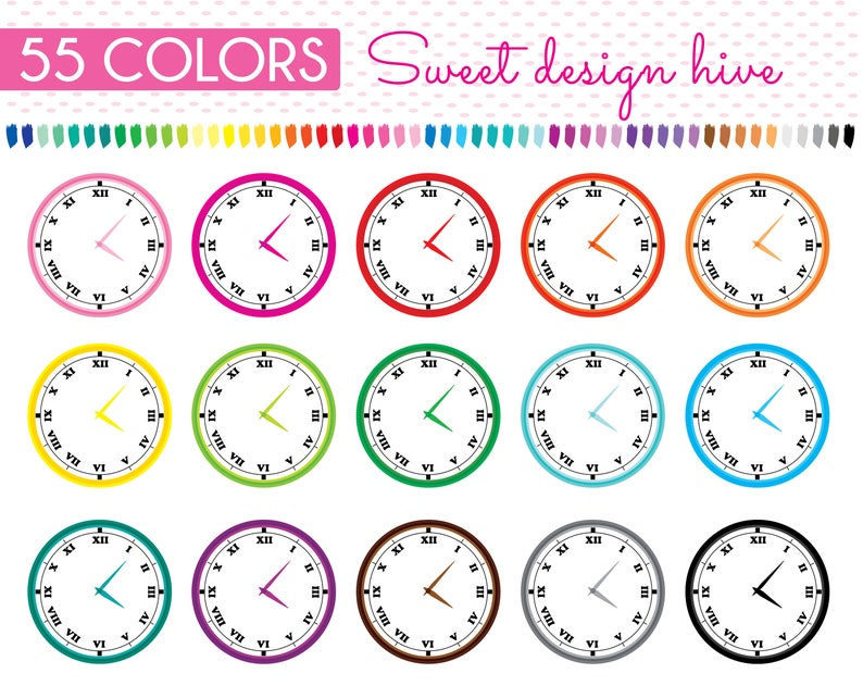 Clock Clipart, Wall Clock Clipart, Analog Clock Clipart, Time Clipart,  Schedule Clipart, Planner Clipart, free Commercial Use, PL0139