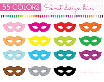 Mask Clipart, Theatre Masks Clipart, Masquerade, Mardi Gras, Carnival, Movies, Cinema, Theatre, Planner Stickers, Commercial Use, PL0170