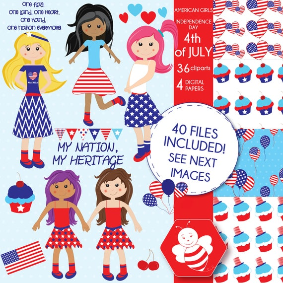 61820ff62 American Girls 4th of July Fourth of July commercial use