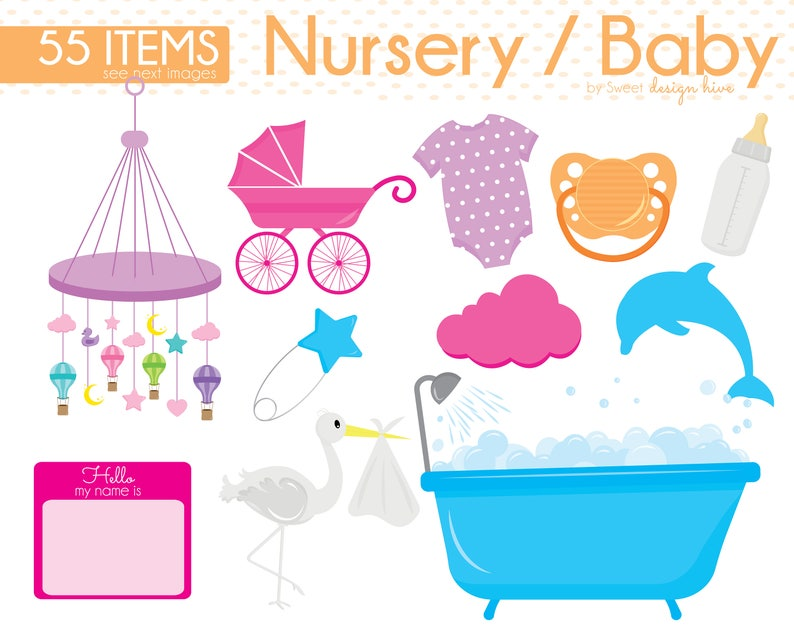 8861f1b4f672 Baby Clipart Baby Shower Clipart Baby Nursery clipart Baby