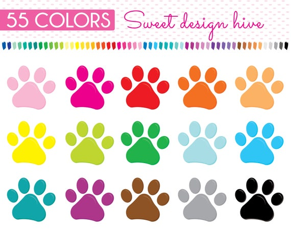 Paw Prints Clipart rainbow colors puppy paws Clip Art Dog ...