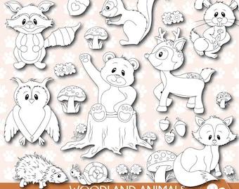 Woodland Animals digital stamps, woodland stamp, forest animals digital stamp, fall animals digital stamps, raccoon stamp,  DS0042
