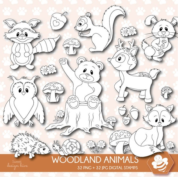 Woodland Animals Digital Stamps Stamp Forest