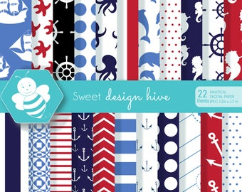 Nautical Digital Papers, Nautical scrapbook papers, Sailing Papers,Seahorse Digital Background,Sailboats,commercial use, DP4057