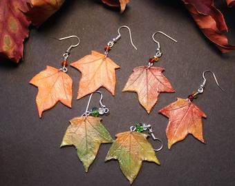 Autumn Leaf Earrings, Fall leaves, Leaf Jewelry, Autumn Jewellery, Fall Jewelry, Halloween, Wicca, Pagan Gift, Leaf Gift, Leaf Accessory
