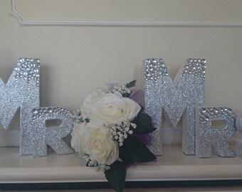 Mr & Mrs Glam Glitter Letters