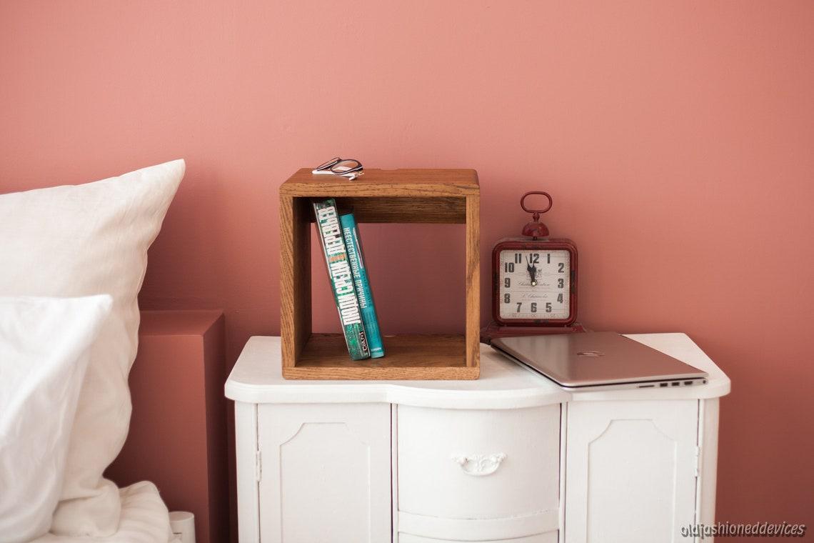 Floating Nightstand, Small Wall Mount Bedside Table, Oak Bedside Cabinet