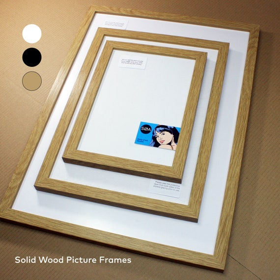 A3 A2 Solid Wood Picture Frames Thin Deep Profile Oak Etsy