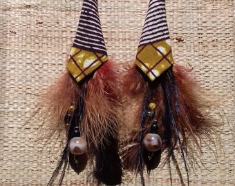 Earrings feathers Wax