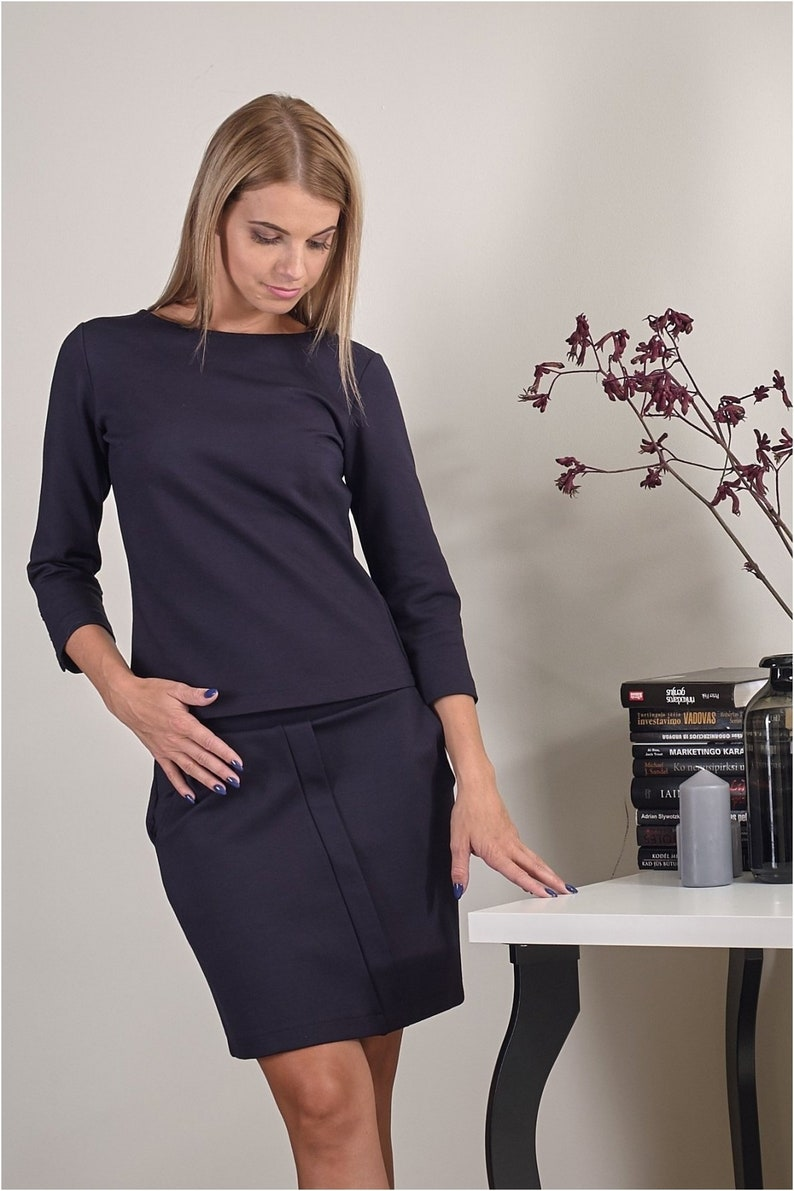 Mni classic skirt with pockets / Dark blue / Business Casual / image 0