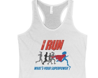 Superhero Gifts for Runners Women Tank Top Empowering Women's Running Shirts Best Women's Running Clothes for Races and Workouts