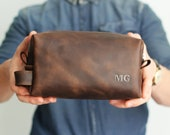 Personalized Toiletry Bag, Valentines day gift, Anniversary gift,  Mans Dopp Kit, Brown Mens Bag, Leather Toiletry Bag , Mens Toiletry Bag