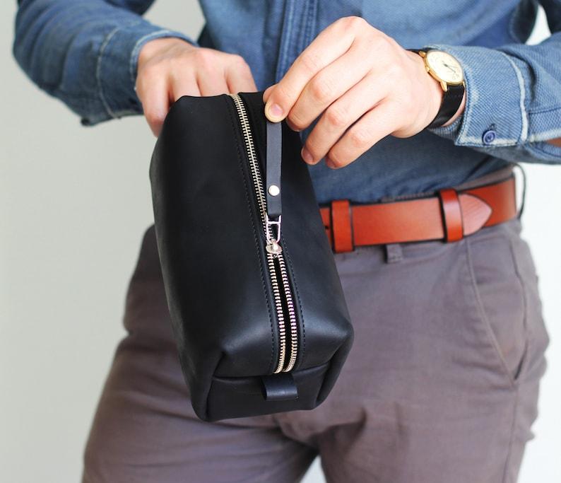 cfb035d896 Anniversary gift Black Toiletry Bag Leather Dopp Kit Mens