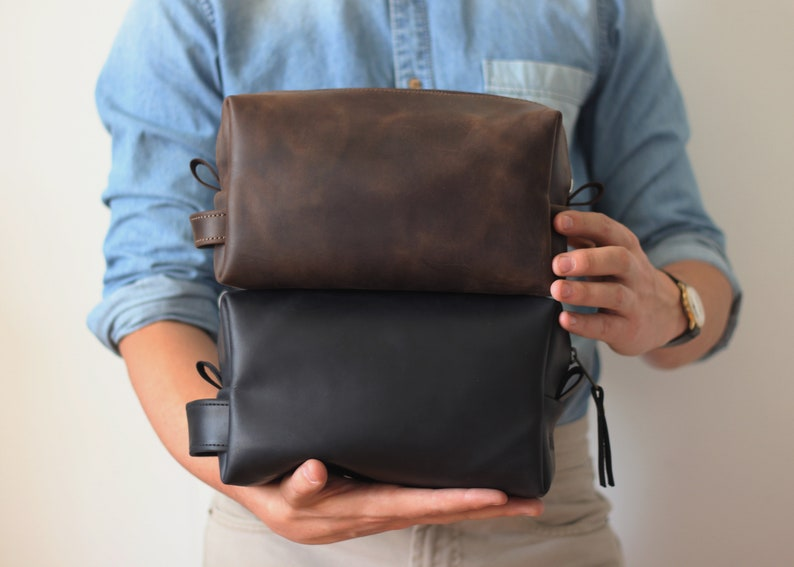 16f9328044 Grooms gift Toiletry Bag Mens Travel Organizer Black Mens