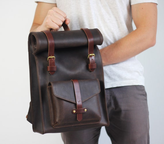 Leather Roll Backpack Laptop Backpack 13 Laptop Backpack Etsy