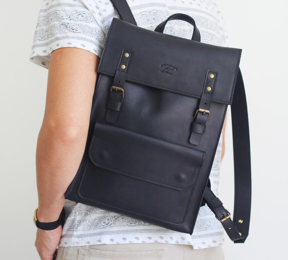 cb958fa4e878 Leather Backpack Mens Backpack Black Leather Backpack Black