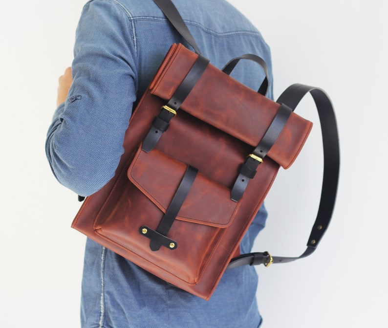 Personalized Bag Laptop Backpack Leather Bag Custom Backpack Roll Backpack Laptop Backpack Backpack Leather Roll Backpack