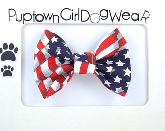 4th of july dog bowtie summer bow tie for dogs patriotic pet bow tie matching dog and owner set red dog bow tie /& polka dot scrunchie