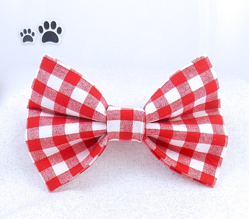 fa985d4730cf Red Dog Bow Tie Red Gingham Dog Bow Tie Red Plaid Cat Bow | Etsy