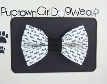 Dog Bow Tie Pet Bow Tie Moo Bow Tie Dog Bow Tie Puppy Bow Tie Black and White Bow Tie Dog Collar Bow Tie