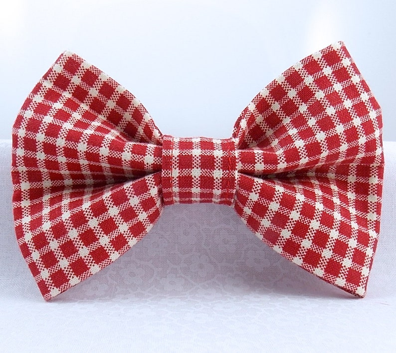 5d6a59d67ed6 Red Gingham Dog Bow Tie Red Gingham Cat Bow Tie Christmas | Etsy