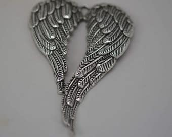 Angel Wing Pendant, Angel Wings, Protection Pendant, Silver Angel Wing Pendant, Metal Angel Wing Pendant