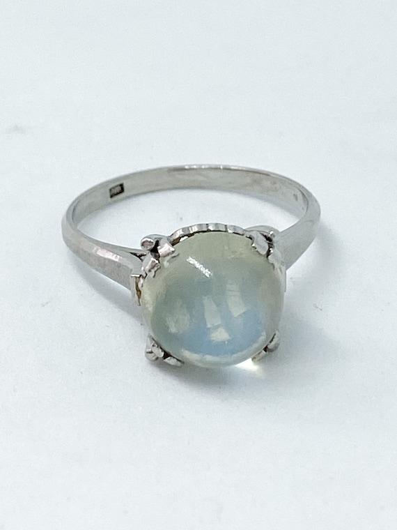 Art Deco moonstone platinum ring