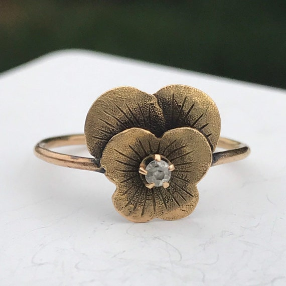 Antique Victorian Pansy Conversion Ring, 14K, 10K