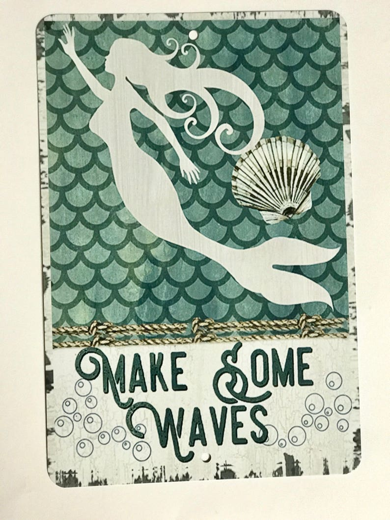 New Mermaid Sign Beach Decor Nautical Metal Sign Home Decor Island Sign Birthday Gift Housewarming Gift