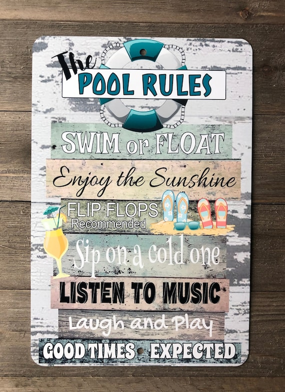 Pool Rules - Metal Sign - Beach decor - Home Decor - Pool Sign - Swimming  Pool Sign - Metal Wall Decor