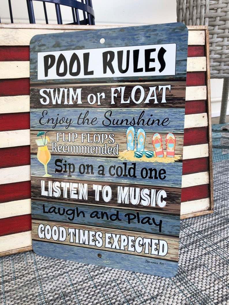 Pool Rules - Metal Sign - Beach decor - Home Decor - Pool Sign - Swimming  Pool Sign - 12x8 Metal Wall Decor