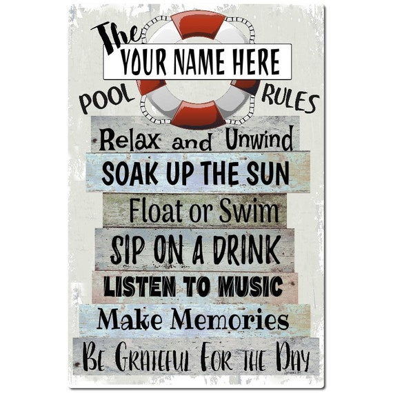 Personalized - The Pool Rules- 18x12 Metal Sign - Swimming Pool Sign - Home  Decor - Outdoor Decor- Pool Decor - Pool Sign - Red