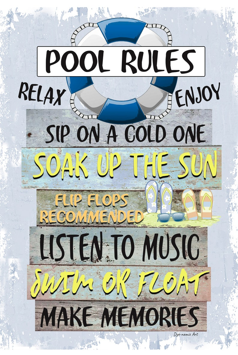 Pool Rules- 18x12 Metal Sign - Swimming Pool Sign - Home Decor - Pool Decor  - Pool Sign - Blue Sign