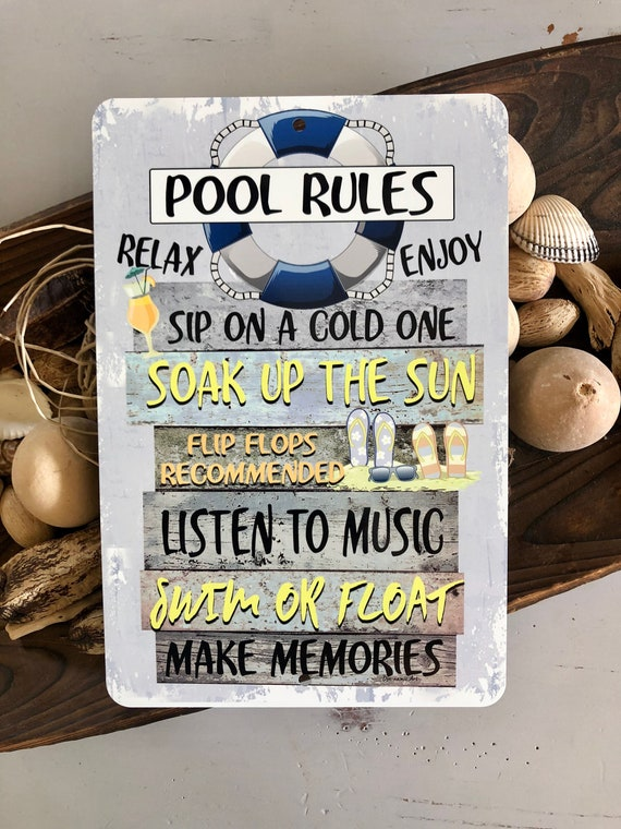 Pool Rules- 8x12 Metal Sign - Swimming Pool Sign - Home Decor - Outdoor  Decor - Pool Decor - Pool Sign - Blue
