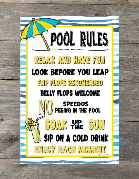 Pool Rules- 8x12 Metal Sign - No Speedos - Home Decor - Outdoor Decor -  Backyard Sign - Swimming Pool Sign - Pool Decor - Pool Sign