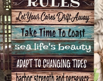 Ocean Rules - Metal Sign - Beach decor - Home Decor - Boating Sign - Ocean Advice