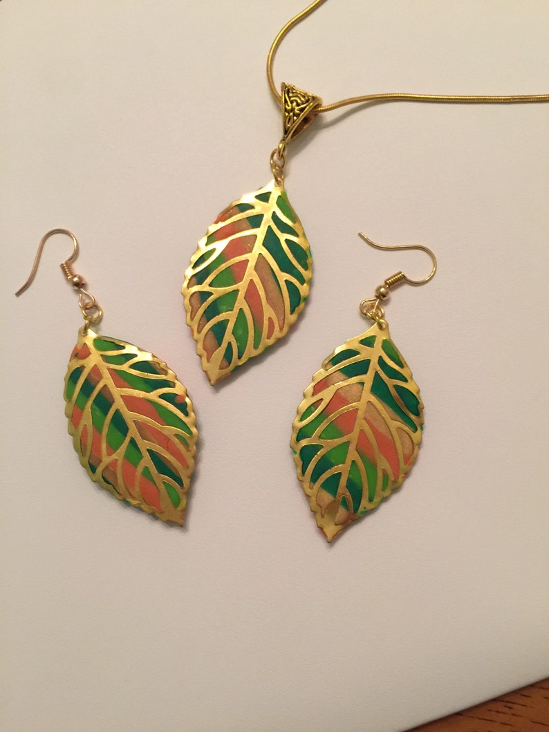 Handmade Summer Leaves Necklace and Earrings-women-gold-greens-pierced-necklace 20 inch gold chain-Birthday-Anniversary-Gift under 30