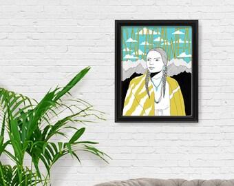 Sacagawea Portrait Print, Fine Art Print, Feminism, Feminist Art, Giclee Print