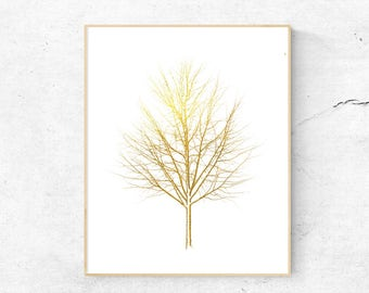Gold Tree Printable Wall Art, Minimalist Wall Decor, Tree Art Print, Download Woodland Print, Forest Print, Metallic Printable
